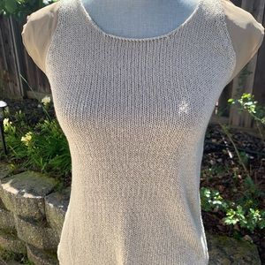 Zara knit top with voile sleeves